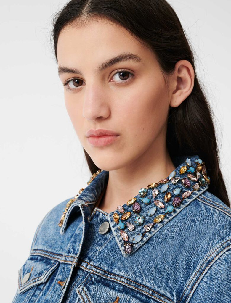 Denim jacket with gem collar : Sustainable Selection color Blue