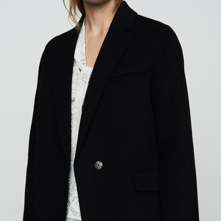 Double-faced wool coat : Coats & Jackets color Black 210
