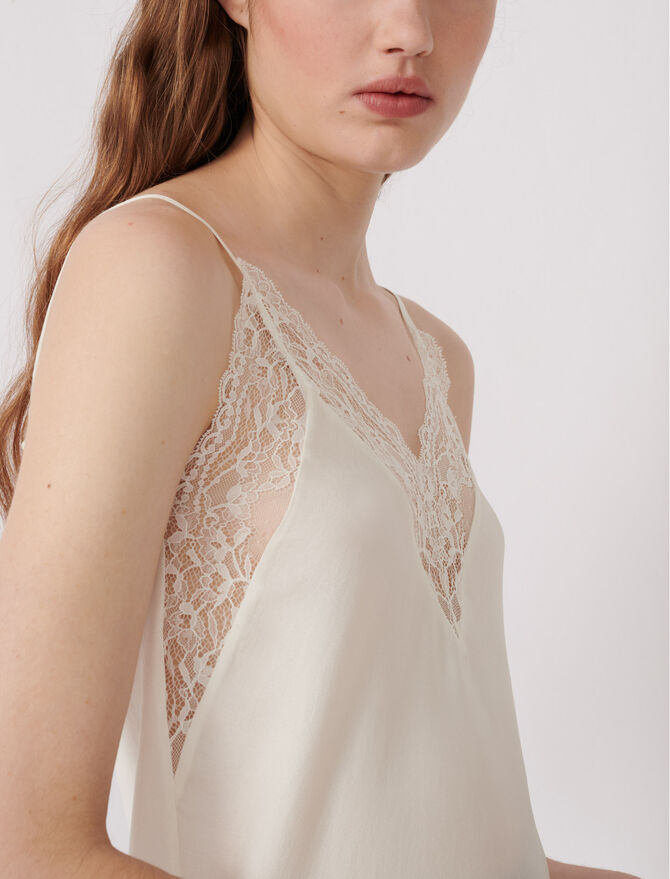 Top with thin straps and lace trim -  - MAJE