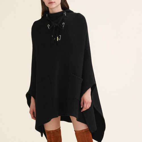 Tube-knit poncho cape - Sweaters - MAJE