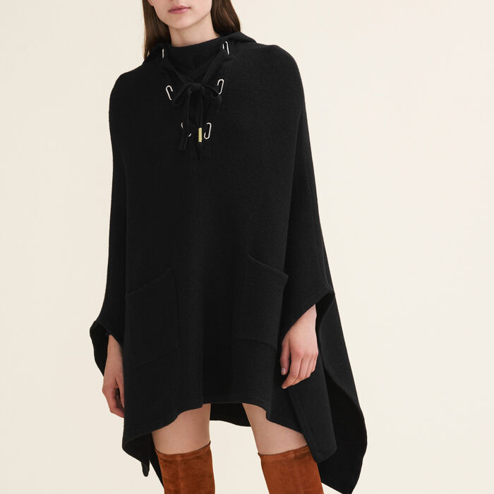 Tube-knit poncho cape : Sweaters color Black 210