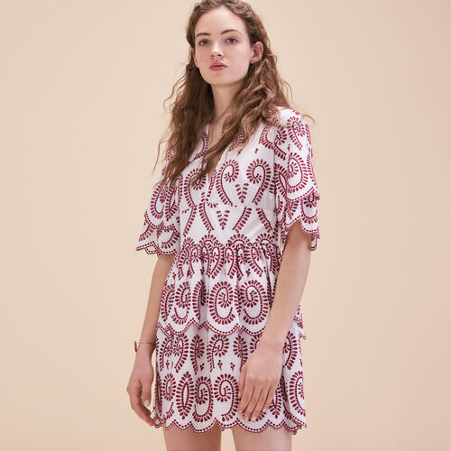 Embroidered dress with frills - Dresses - MAJE