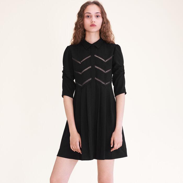 Shirt dress with braid trim -  - MAJE