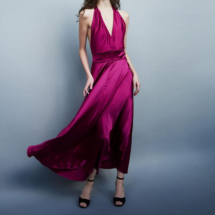 Long sleeveless silk dress : Dresses color Fuschia
