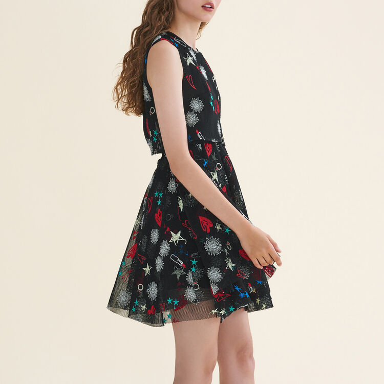 Tulle sleeveless embroidered dress : Dresses color Multico