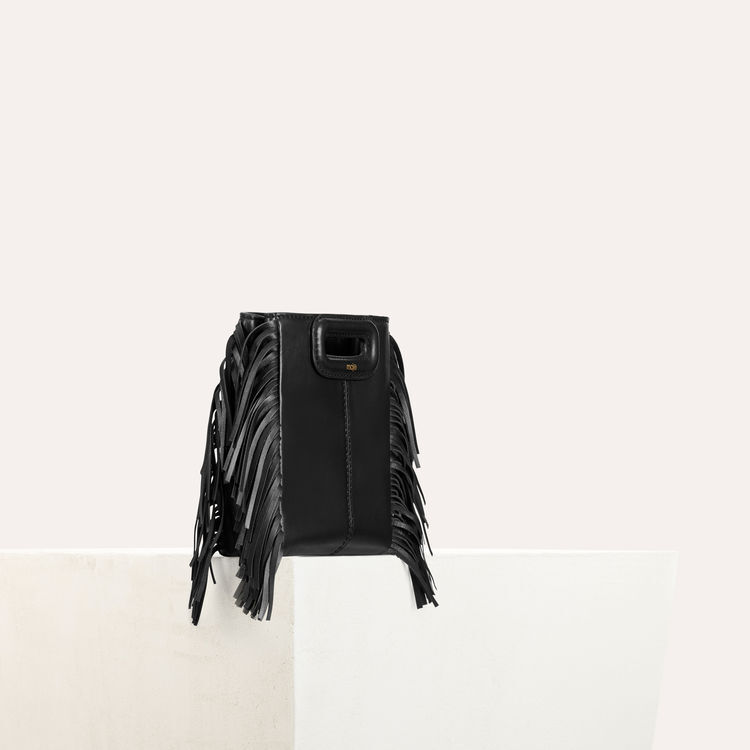 M Mini-bag with leather fringes : Spring Collection color Black 210