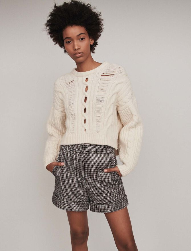 Wool houndstooth shorts - Skirts & Shorts - MAJE