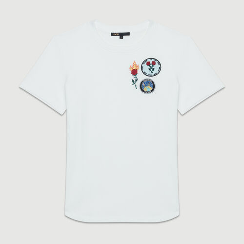 Cotton T-shirt with patch : Tops & Shirts color White