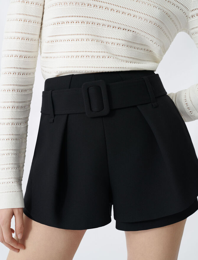 Pleated trompe-l'oeil short - Skirts & Shorts - MAJE