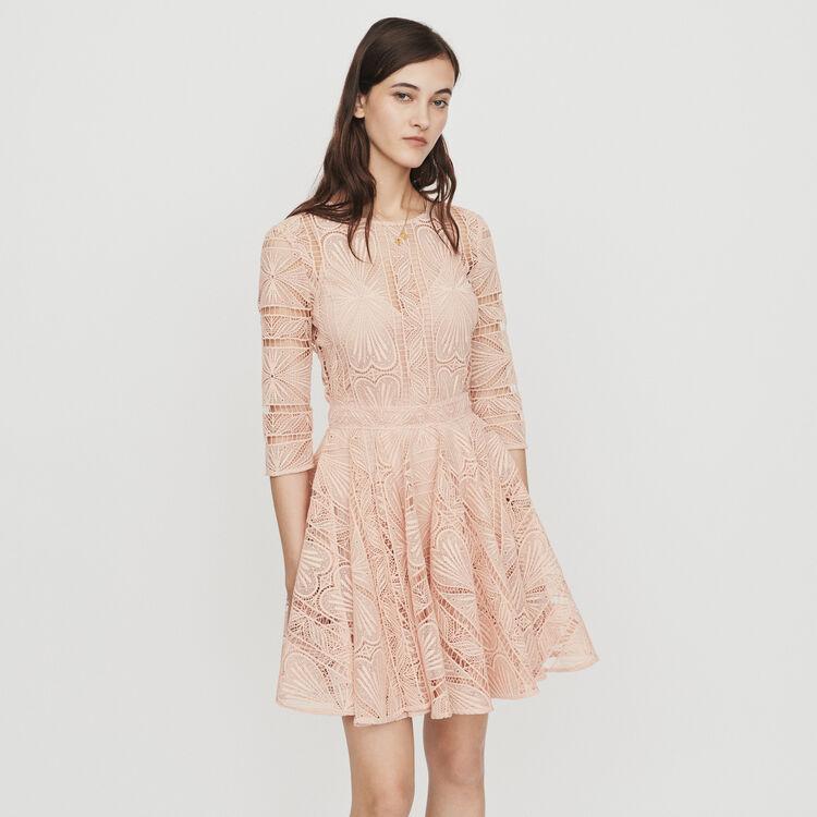Short guipure lace dress : Dresses color Terracota