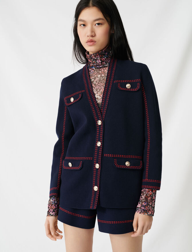 Cardigan with contrasting topstitching - Sweaters - MAJE