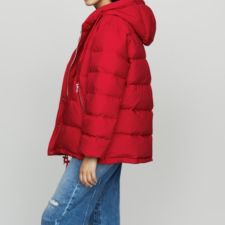 Hooded puffer jacket with zip : Coats & Jackets color Red