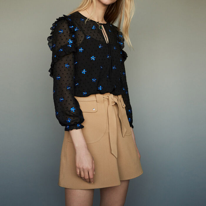 Embroidered chiffon top : Tops & Shirts color Black 210
