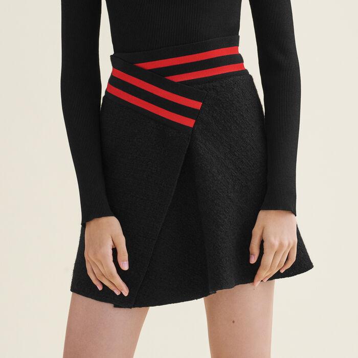 Asymmetric tweed skirt : Skirts & Shorts color Black 210