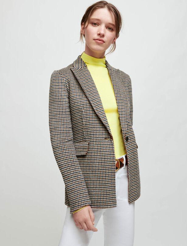 마쥬 체크 자켓 MAJE Double-sided checkered fitted jacket,Camel