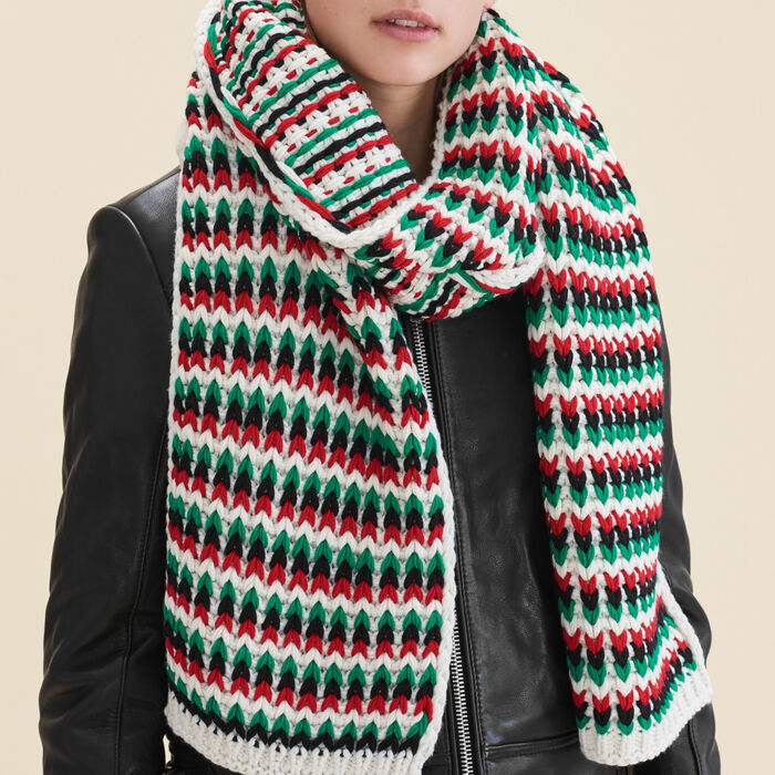 Multicolored jacquard knit scarf : null color
