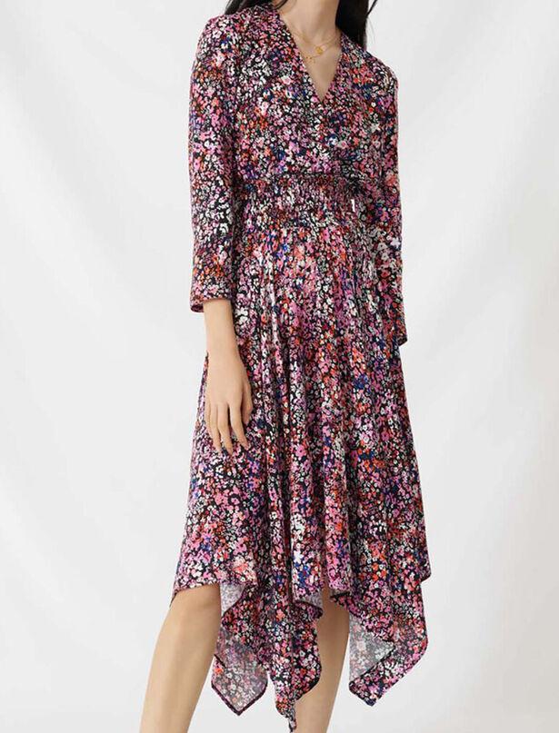 마쥬 원피스 MAJE Floral wrap dress,Black