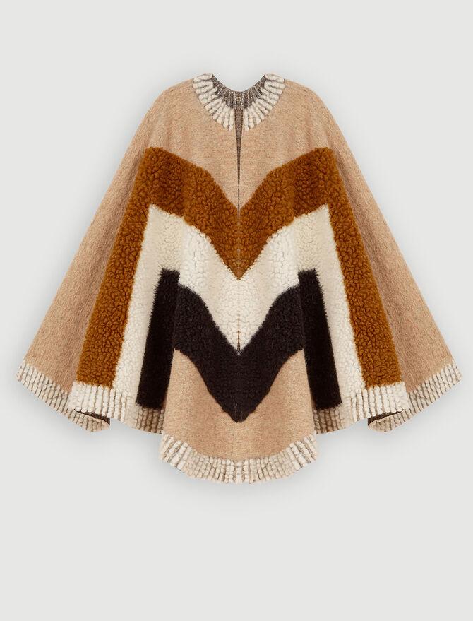 Wool-blendplaid poncho -  - MAJE