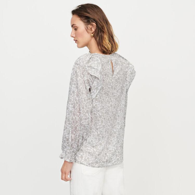 Floral-print ruffled top : Tops & T-Shirts color Grey