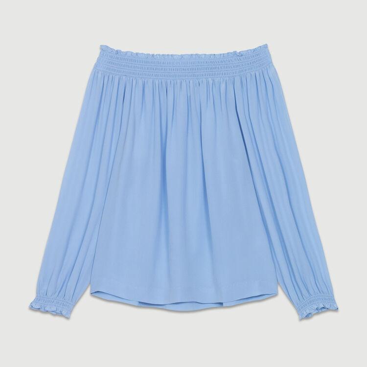 Silk cold-shoulder top : Tops & Shirts color Denim