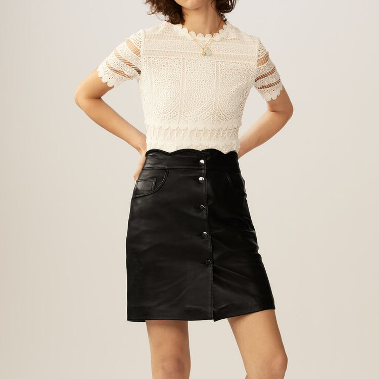 Short leather skirt : Skirts & Shorts color Black 210