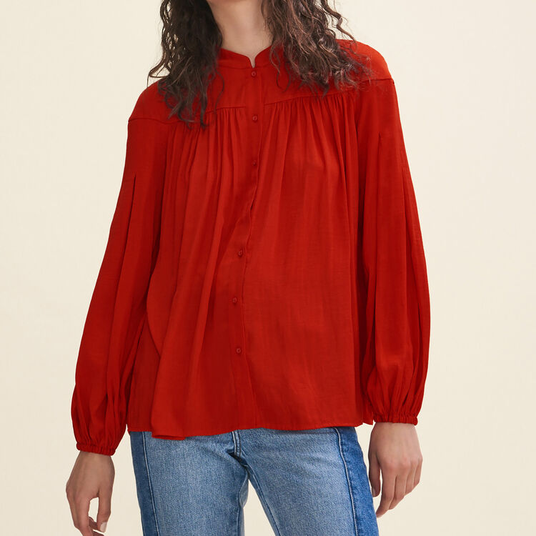 Floaty crepe shirt : Tops & T-Shirts color Red