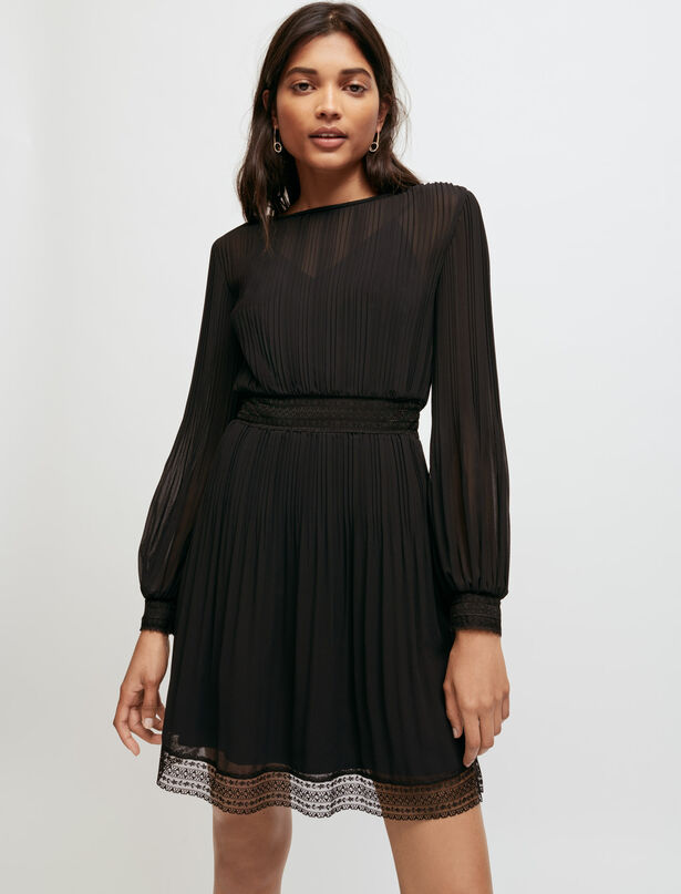 마쥬 무슬린 레이스 원피스 MAJE Muslin and lace smocked dress,Black