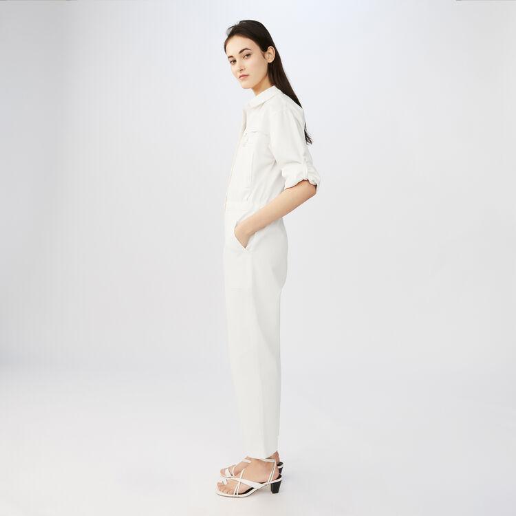 Jumpsuit with long sleeves : Pants & Jeans color ECRU
