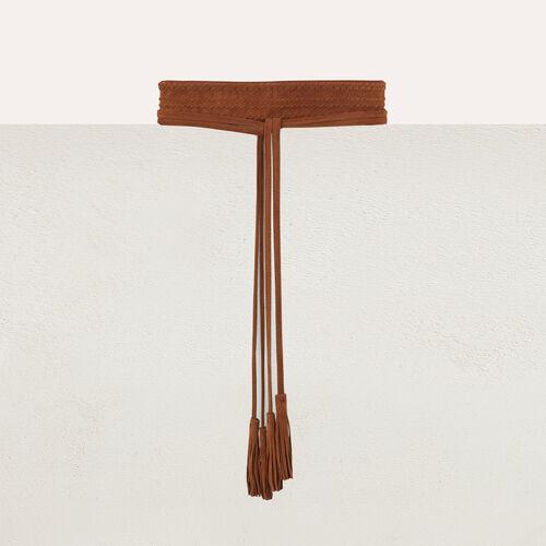 High-waisted suede belt : The Essentials color Camel