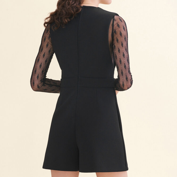 Dual-material playsuit : null color