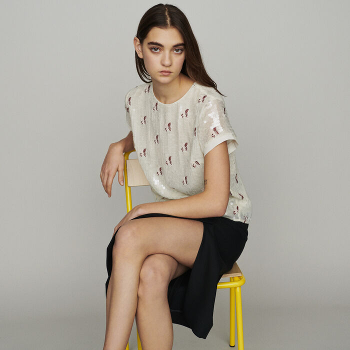 Top with sequin embroidery : Tops & T-Shirts color Ecru