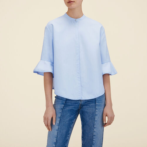 Striped poplin shirt  : Tops & T-Shirts color Blue Sky