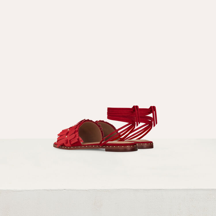 Flat sandals with ties in leather : Shoes color Red
