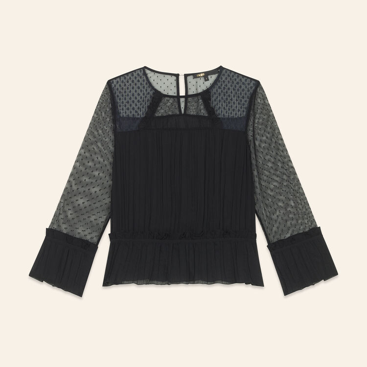 Flowing pleated top with dotted Swiss : Tops & T-Shirts color Black 210