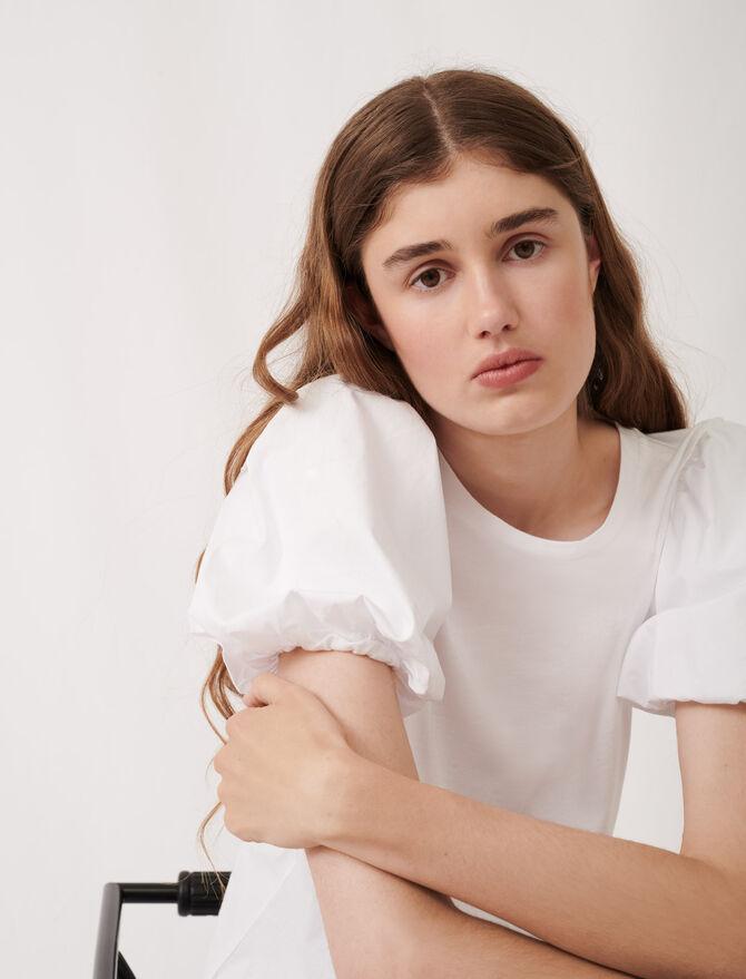 White mixed material T-shirt -  - MAJE