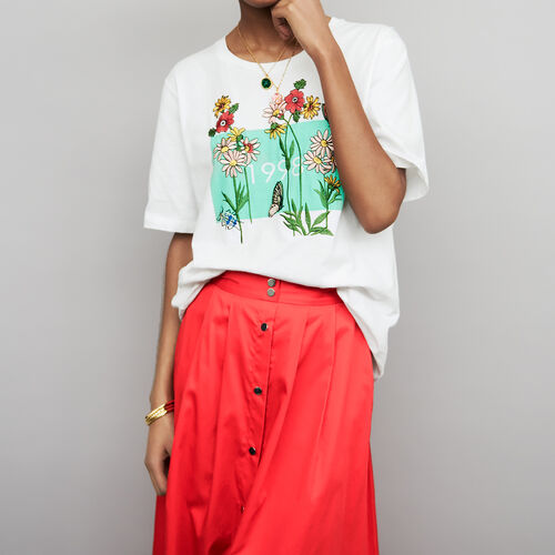 Embroidered cotton t-shirt : Tops & T-Shirts color White