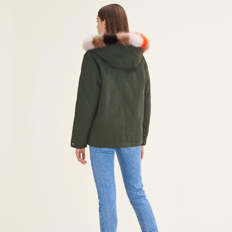 Reversible printed fur parka : null color