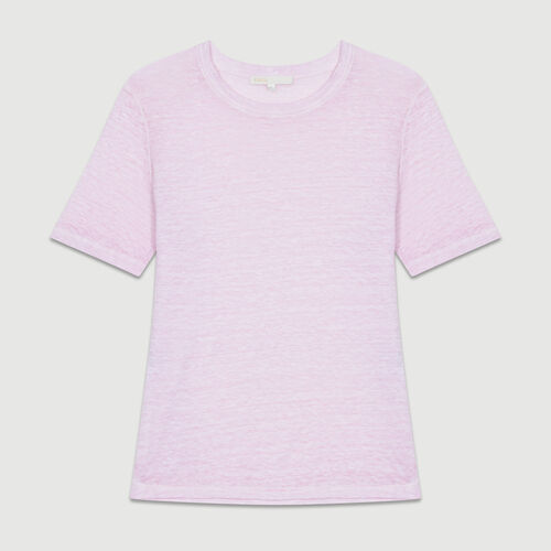 Linen t-shirt : Tops & Shirts color LILAS