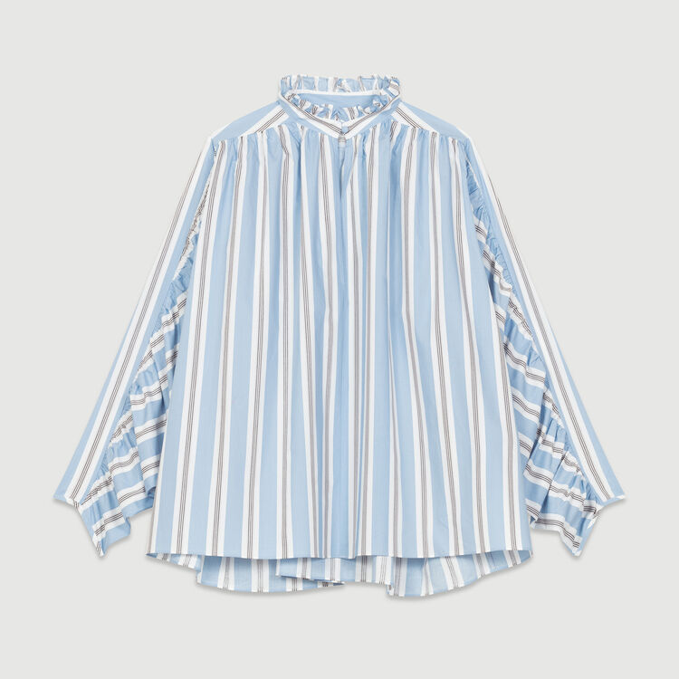 Oversized striped blouse with ruffles : Tops & T-Shirts color PRINTED