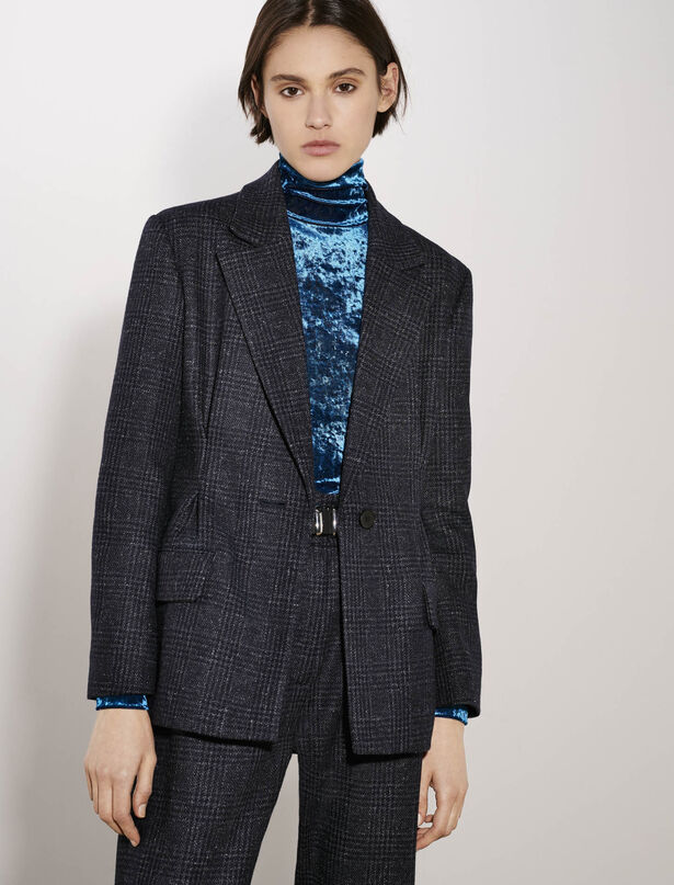 마쥬 체크 벨트 셋업 자켓 (스타트업 수지 착용) MAJE Belted and fitted checked jacket,Blue