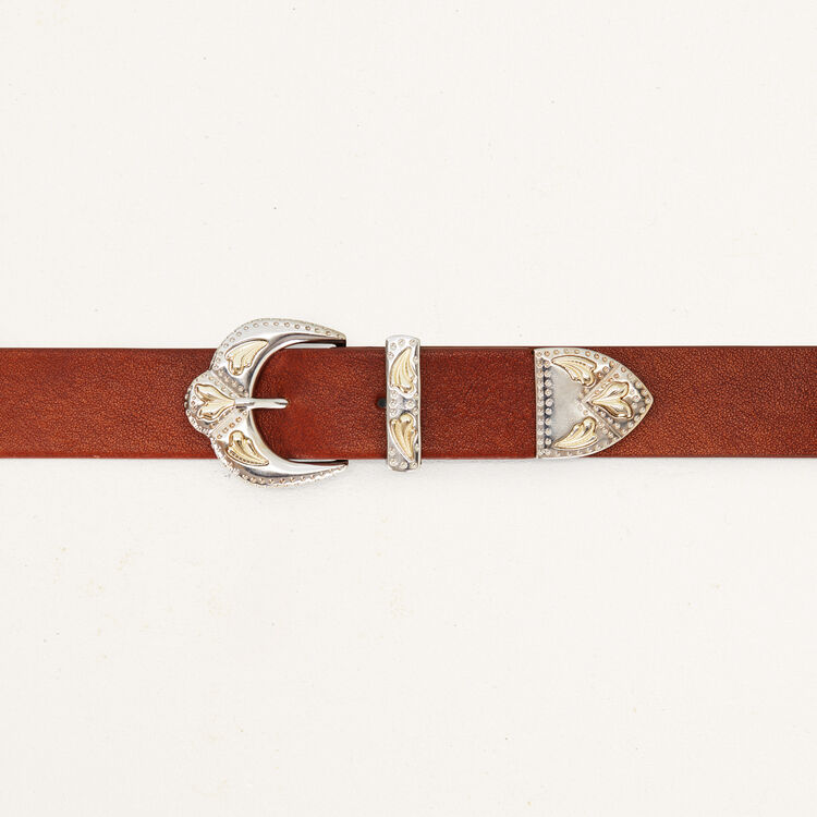 Double-buckle belt in leather : Shoes & Accessories color Camel