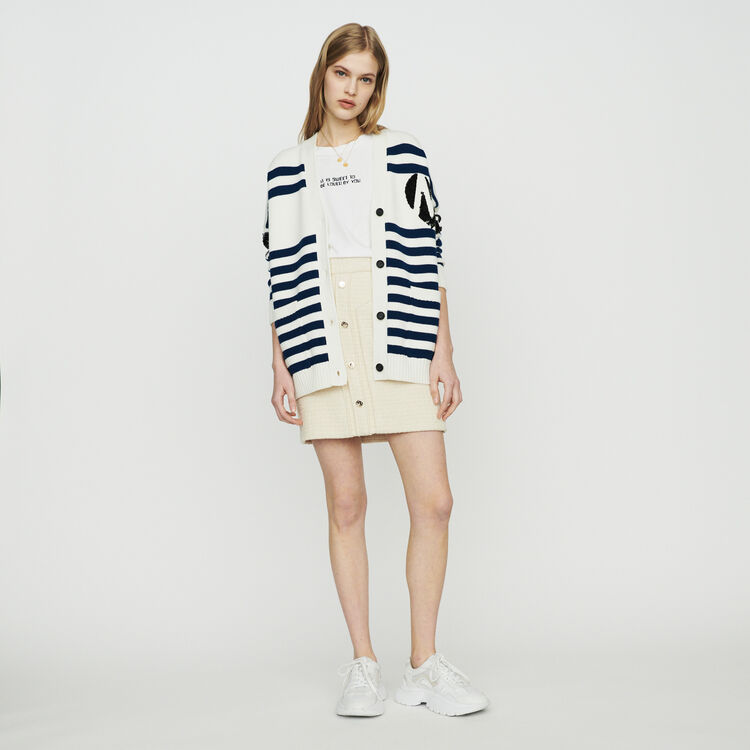 Striped cardigan embroidered : Sweaters color Ecru