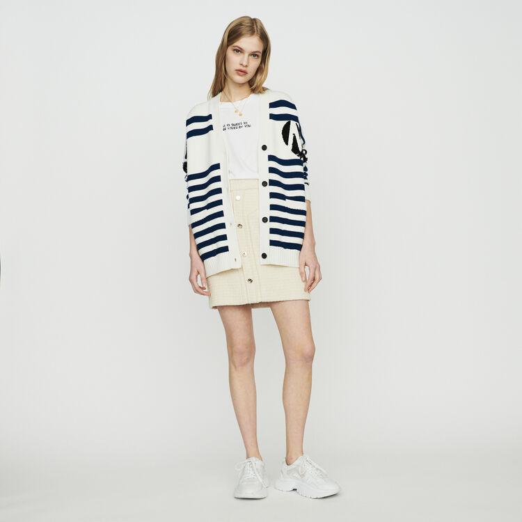 Striped cardigan embroidered : Sweaters color Ecru