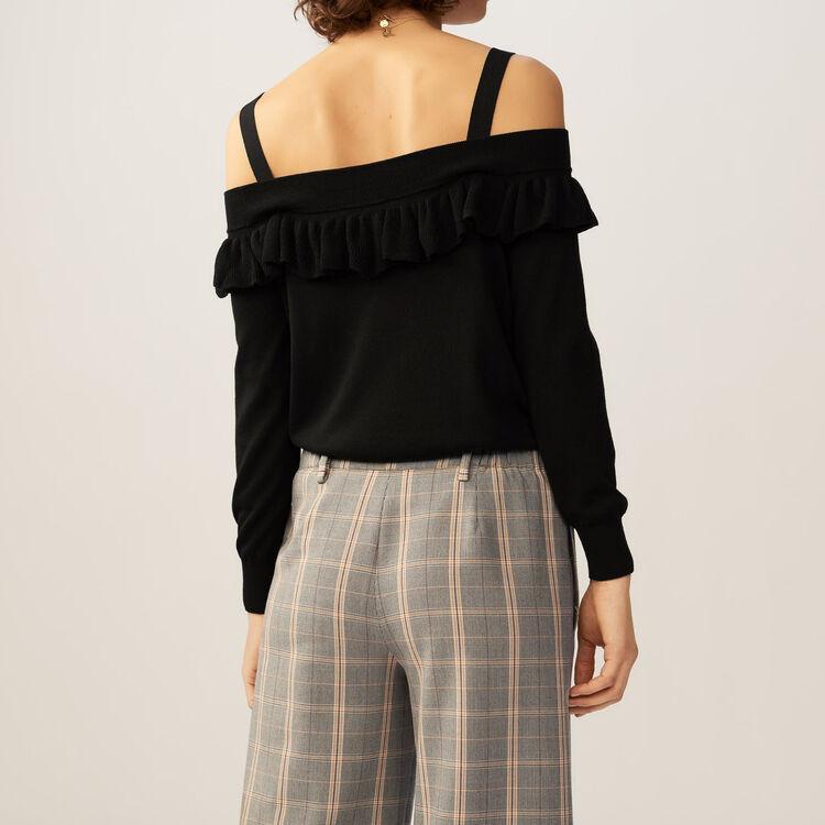 Fine-knit cold shoulder sweater top : Sweaters color Black 210