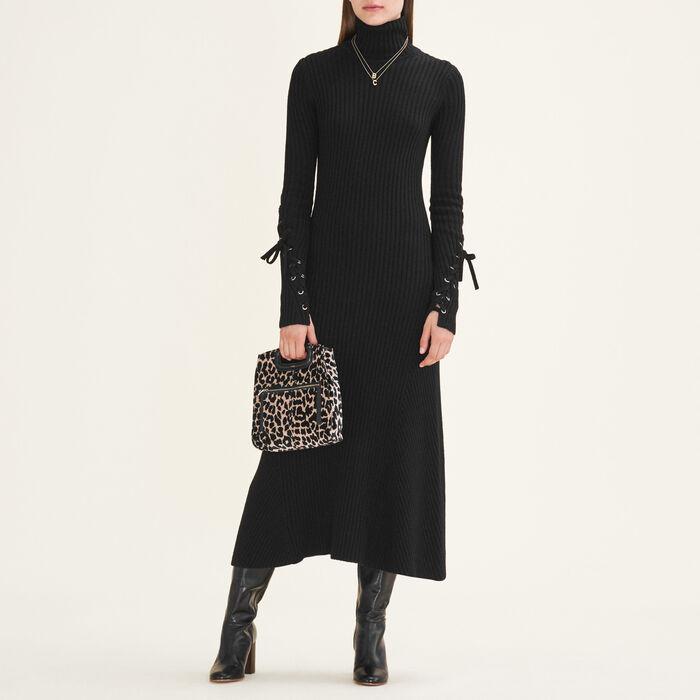 Long tube-knit dress : Dresses color Black 210