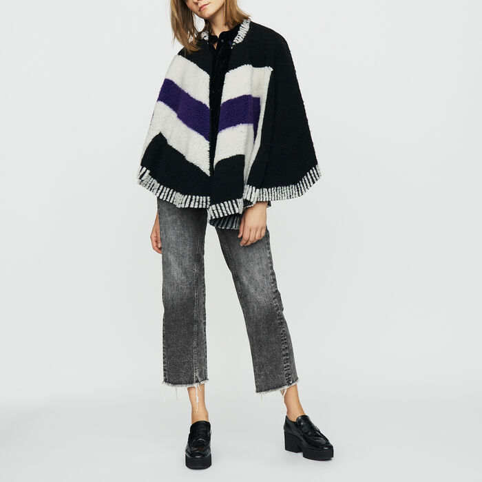 Poncho with sheepskin : Scarves color Black 210
