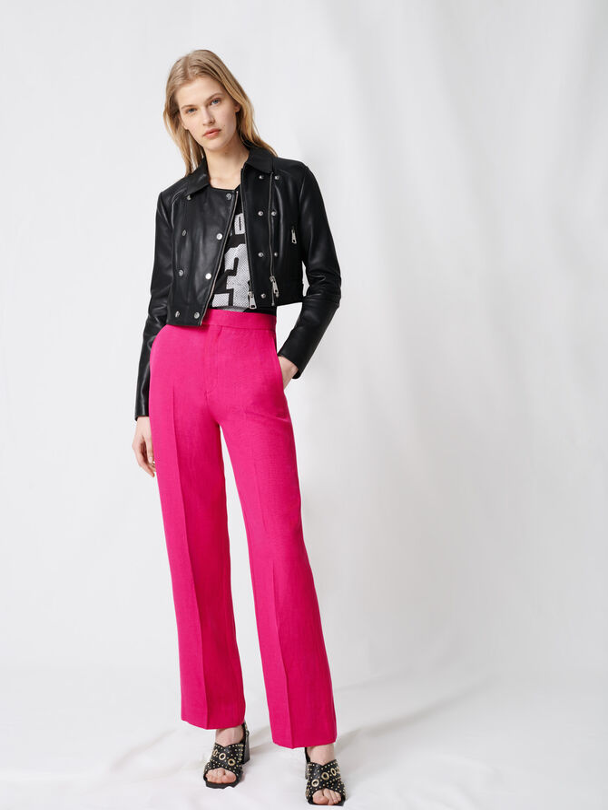 Short leather jacket with asymmetric zip - Coats & Jackets - MAJE