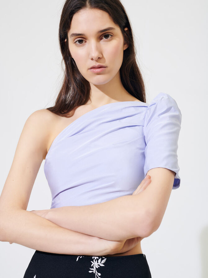 Asymmetric taffeta top - Tops & T-Shirts - MAJE