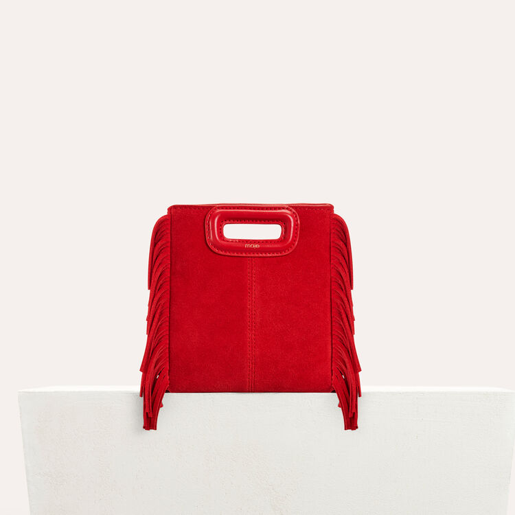 Mini M bag with suede fringe : Bags color Red