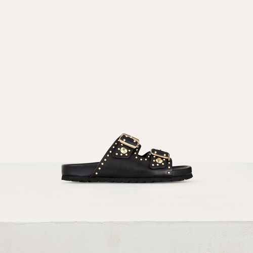 Leather sandals decorated with studs : See all color Black
